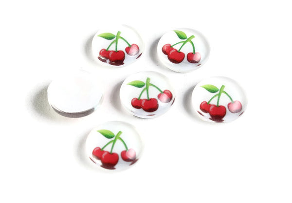 12mm Cherry cabochons - 12mm fruit cabochon - red white cabochon - flat round cabochon - 12mm glass cabochon - 12mm Printed Cabochons - 6 pieces (2127)