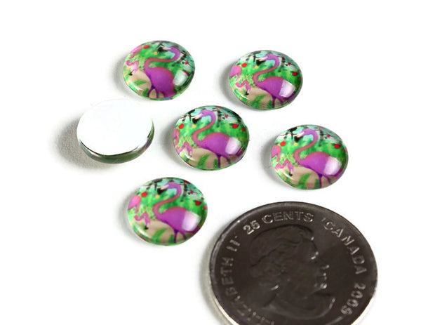 12mm Flamingo cabochons - 12mm bird cabochon - pink cabochon - flat round cabochon - 12mm glass cabochon - 12mm Printed Cabochons - 6 pieces (2131)