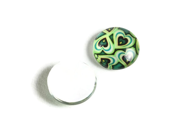 12mm Green heart cabochons - 12mm cabochon - green cabochon - flat round cabochon - 12mm glass cabochon - 12mm Printed Cabochons - 6 pieces (2134)