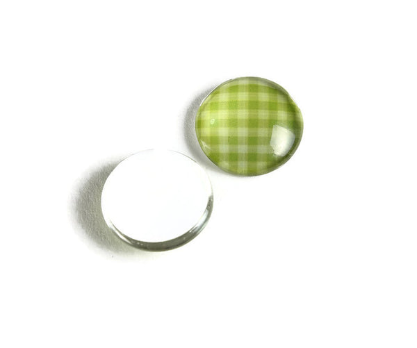 12mm plaid grid cabochons - yellow green cabochon - checker cabochon - flat round cabochon - 12mm glass cabochon - Printed Cabochons - 6 pieces (2138)