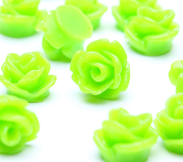 7.5mm yellow green flower cabochon - Petite flower cabochons - Rosebud cabochons - 3D cabochons (507-1)