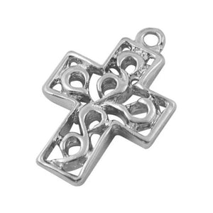 Antique silver cross charm - Antique silver cross pendant - Rosary - Metal cross - Religious Charm - 18mm x 12mm - 10 pieces (719)