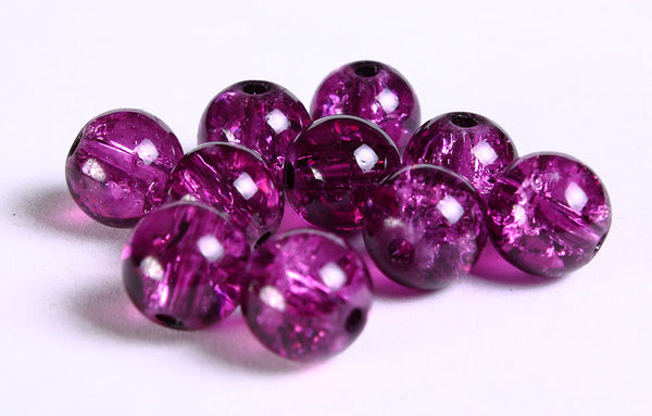 10mm purple crackled beads - 10mm mauve crackle beads - violet glass beads - grape round crackle glass bead - 10 pieces (764)