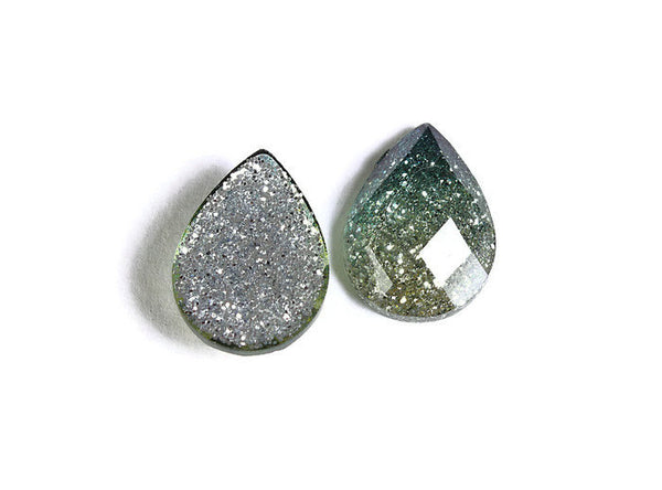 14mm x 10mm Green yellow teardrop cabochon - gradient sparkly cabochon - Galaxy glitter cabochon - Kawaii cabochon - 6 pieces (1713)