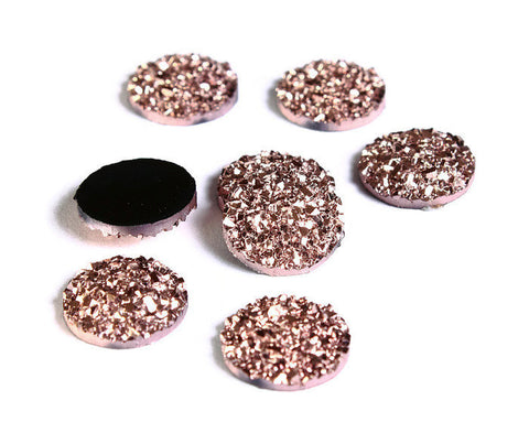 12mm Rose gold round resin cabochon - Faux druzy cabochon - Faux drusy cabochon - Metallic textured cabochon - 8 pieces (1632)
