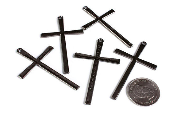 61mm Gunmetal tibetan style cross charm - Gunmetal cross pendant - Black Christian cross - 61mm x 36mm - 5 pieces (1771-S)