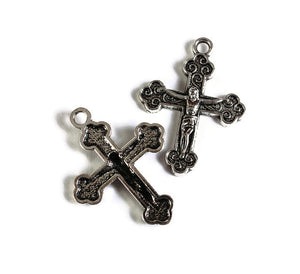 Cross charm pendant - christian cross Jesus - antique silver - Jesus Crucifix medal Catholic Christian - 29mm - 5 pieces (1750)