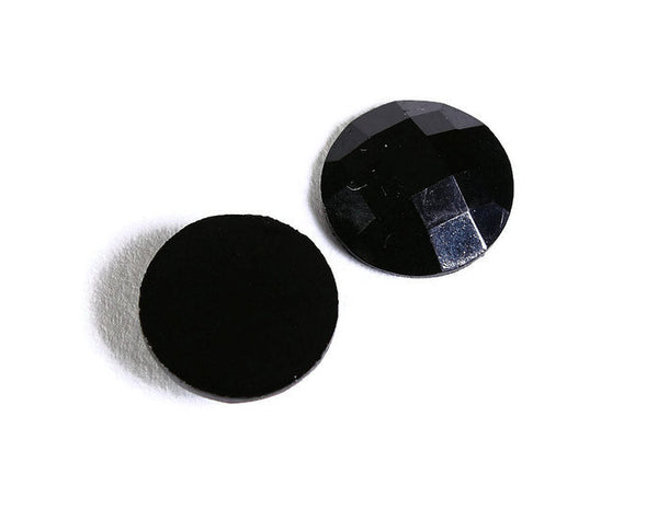 10mm Black round resin cabochon - Black opaque cabochons - Black faceted cabochons - 10 pieces (1658)