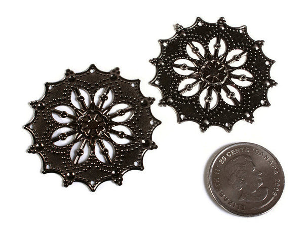 44mm Large flower filigree charm - Snowflake pendant - Gunmetal pendant - 8 holes - 4 pieces (1661)