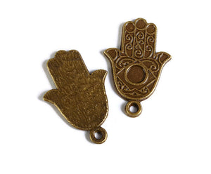 Antique brass Hamsa Symbol Hand pendant with Cabochon Setting - Hand Of Fatima charm - 23mm x 15mm - Cadmium free - 5 pieces (1761)
