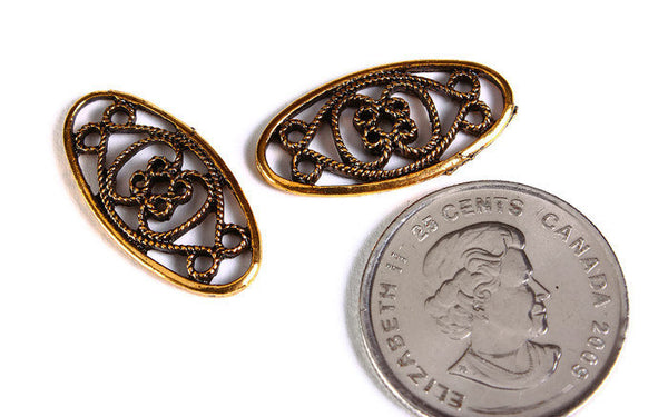 25mm x 13mm Antique gold carved hollow link - Oval charm - Antique gold pendant - Embellishment Finding - 6 pieces (1665)