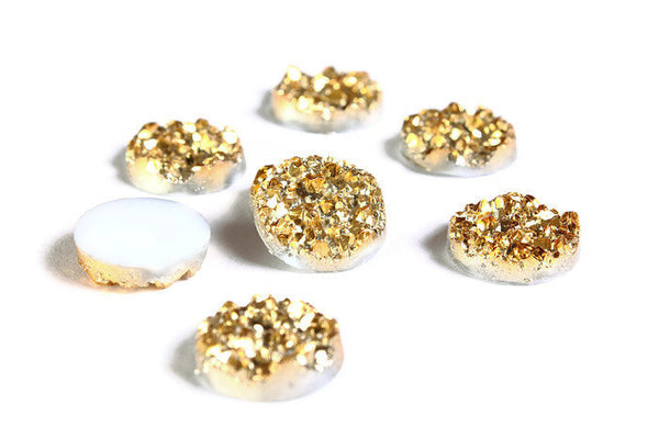 12mm Gold round resin cabochon - Faux druzy cabochon - Faux drusy cabochon - Textured cabochons - 6 pieces (1652)