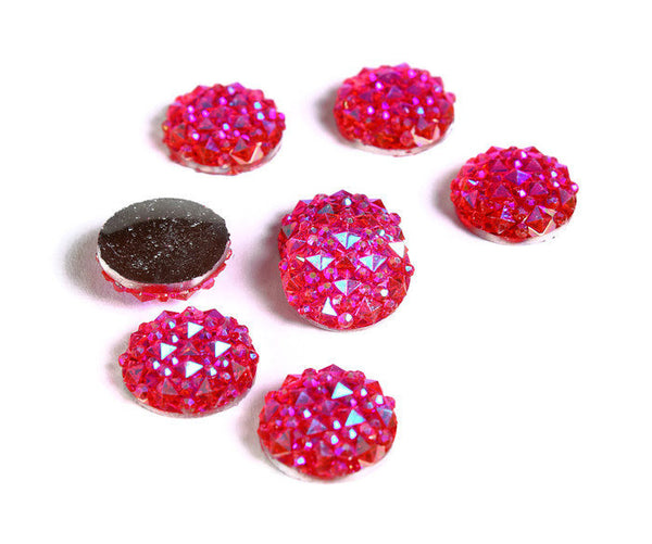 12mm Hot pink AB round resin cabochon - Faux druzy cabochon - Faux drusy cabochon - Textured cabochons - 8 pieces (1676)