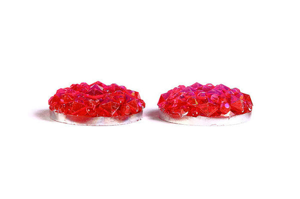 12mm Hot pink AB round resin cabochon - Faux druzy cabochon - Faux drusy cabochon - Textured cabochons - 6 pieces (1676-)