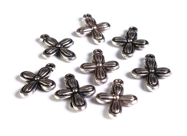 Silver cross charm - Silver cross pendant - CCB Plastic cross Charm - 18mm x 13mm - 8 pieces (1694)
