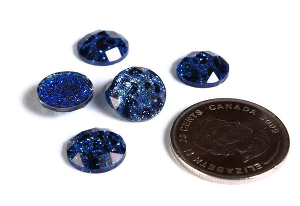 12mm Blue Leopard cabochon - Animal print cabochons - Cheetah cabochon - 12mm faceted cameos - Glitter cabochons - 6 pieces (1720)