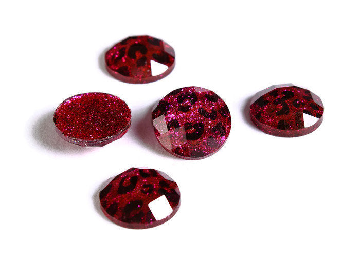 12mm Hot pink Leopard cabochon - Animal print cabochon - Cheetah cabochon - 12mm faceted cameo - Glitter cabochon - 6 pieces (1722)