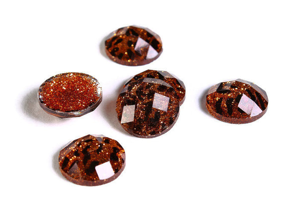 12mm Brown Leopard cabochon - Animal print cabochon - Cheetah cabochon - 12mm faceted cameo - Glitter cabochon - 6 pieces (1725)