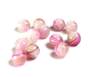 8mm Pink round glass beads - Swirl Beads - Small Glass Beads - Glass beads - 12 pieces (1157)