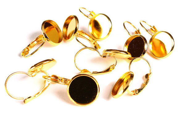 12mm Leverback Earring Settings - Gold tone - Lead free Nickel free Cadmium free - 10 pieces (1780)
