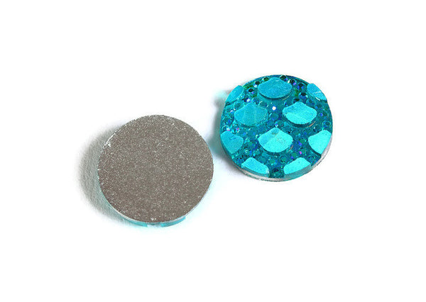 12mm Blue AB cabochon - Mermaid cabochon - Fish scale cabochon - Dragon scale - Snake Skin cabochon - 8 pieces (1787)