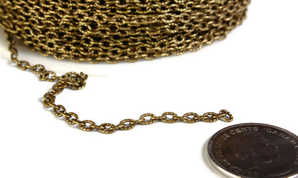 4mm x 3mm antique brass cable chain - Antique brass textured chain - Antique brass cross chain - Nickel free - Lead free - 10 feet (1793)