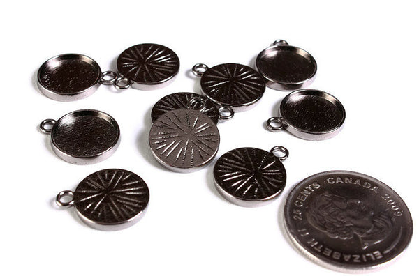 12mm Gunmetal tray Pendant - 12mm cabochon settings - Black findings - nickel free - lead free - 10 pieces (1784)