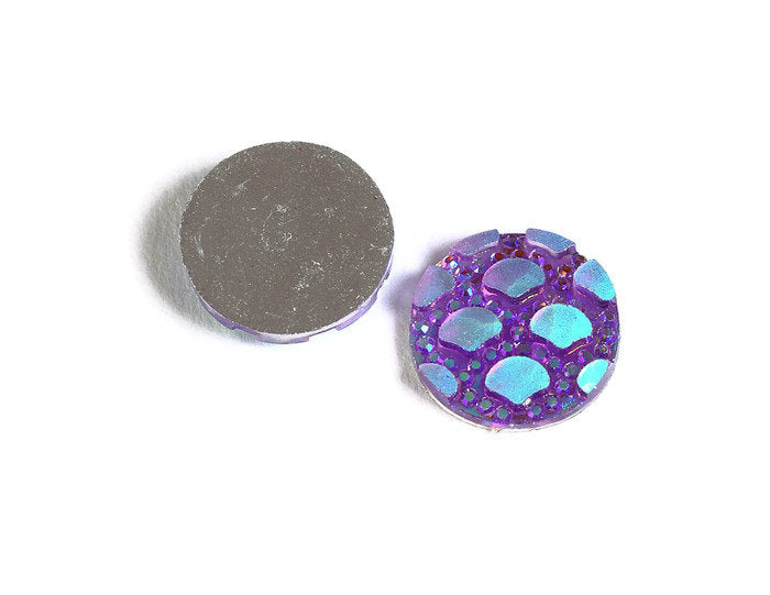 12mm Purple AB cabochon - Mermaid cabochon - Fish scale cabochon - Dragon scale - Snake Skin cabochon - 8 pieces (1785)
