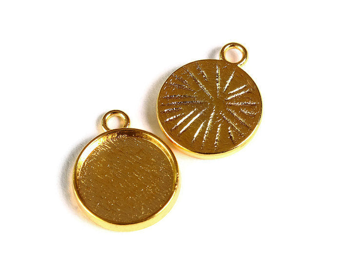 12mm Gold tray Pendant - 12mm cabochon settings - Gold tone findings - nickel free - lead free - 10 pieces (1781)