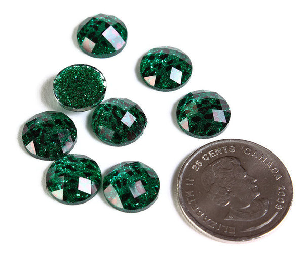 12mm Green Leopard cabochon - Animal print cabochon - Cheetah cabochon - 12mm faceted cameo - Glitter cabochon - 6 pieces (1789)