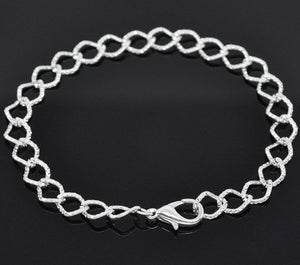 Silver bracelet - Silver plated textured curb chain bracelet - Link Chain With Lobster Clasp - 20cm - 7 7/8 inches - 1 piece (1813)