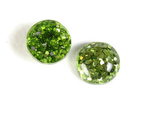 12mm Green round resin cabochon - Green Glitter Cabochon - Domed Flat Back cabochons - 12mm glitter cabochons - 6 pieces (1816)