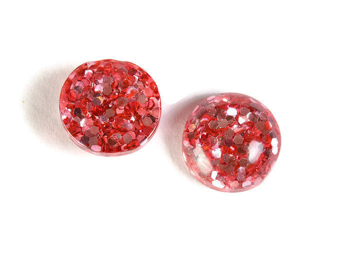 12mm Pink round resin cabochon - Pink Glitter Cabochon - Domed Flat Back cabochons - 12mm glitter cabochons - 6 pieces (1820)