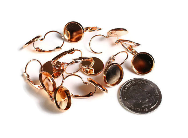 12mm Leverback Earring Settings - Rose gold Leverback earrings with flat round tray - 10 pieces (1858)
