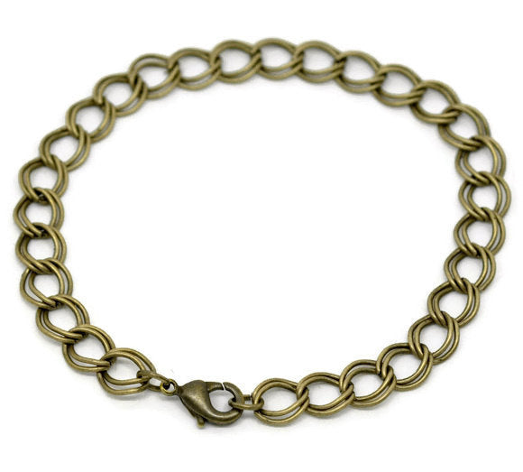 Antique brass bracelet - Link double loop curb chain bracelet - Link Chain With Lobster Clasp - 20cm - 7 7/8 - 1 piece (1812)