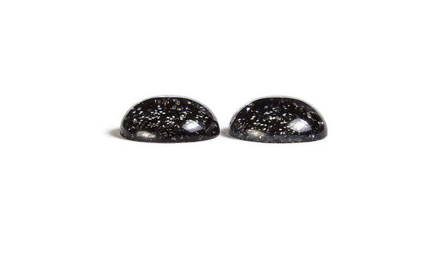 12mm black dome cabochons with silver Glitter - 12mm half round cabochon - 12mm cameo - 6 pieces (1855)