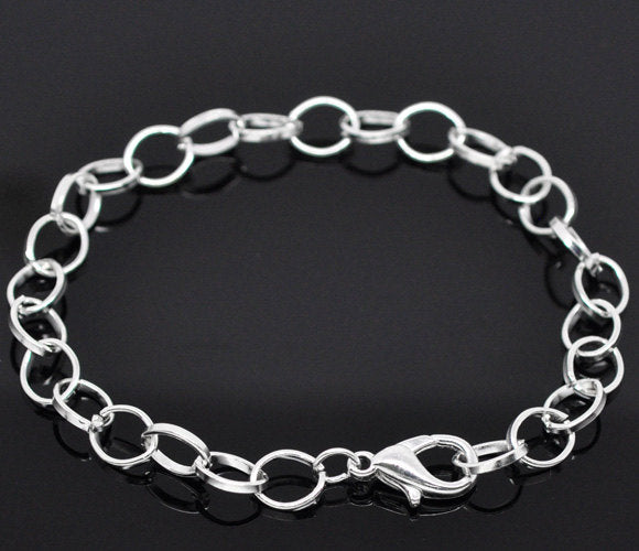 Silver bracelet - Silver plated curb chain bracelet - Link Chain With Lobster Clasp - 20cm - 7 7/8 inches - 1 piece (1808)