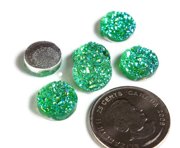 12mm Green AB round cabochon - Faux druzy cabochon -Faux drusy cabochon -Textured cabochon - Glitter cabochon - 6 pieces (1654-1)