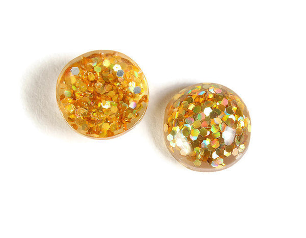 12mm Gold round resin cabochon - Gold Glitter Cabochon - Domed Flat Back cabochons - 12mm glitter cabochons - 6 pieces (1817)
