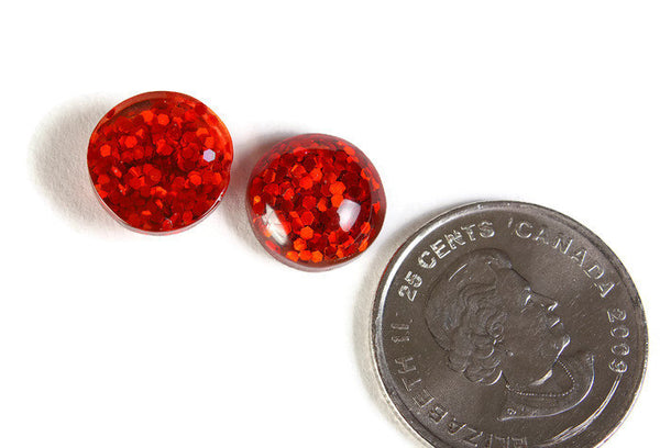 12mm Red round resin cabochon - Red Glitter Cabochon - Domed Flat Back cabochons - 12mm glitter cabochons - 6 pieces (1818)