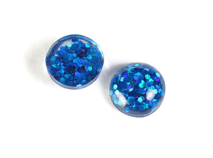 12mm Blue round resin cabochon - Blue Glitter Cabochon - Domed Flat Back cabochons - 12mm glitter cabochons - 6 pieces (1822)