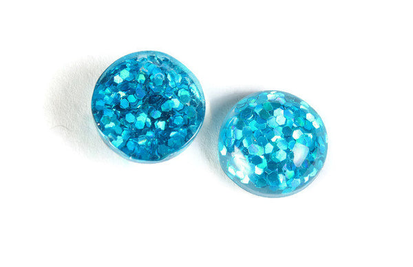 12mm Peacock blue round resin cabochon - Glitter Cabochon - Domed Flat Back cabochons - 12mm glitter cabochons - 6 pieces (1821)