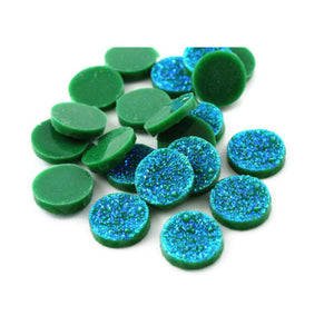 12mm Green with blue glitters cabochon - Faux druzy cabochon - Faux drusy cabochon - Metallic glitter cabochon - 6 pieces (1873)