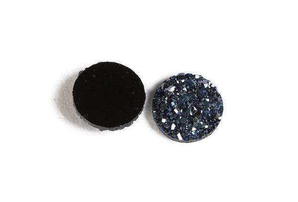 12mm Blue round resin cabochon - Faux druzy cabochon - Faux drusy cabochon - Textured cabochon - 6 pieces (1878)