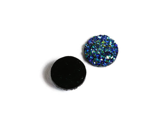 12mm Blue green yellow round resin cabochon - Faux druzy cabochon - Faux drusy cabochon - Textured cabochon - 8 pieces (1859)
