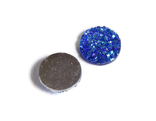 12mm Blue round resin cabochon - Faux druzy cabochon - Faux drusy cabochon - Textured cabochon - 8 pieces (1860)
