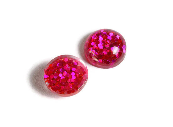 12mm Hot Pink round resin cabochon - Pink Glitter Cabochon - Domed Flat Back cabochons - 12mm glitter cabochons - 6 pieces (1824)