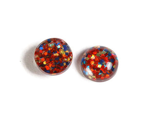 12mm Blue orange gold cabochon - Glitter Cabochon - Domed Flat Back cabochons - 12mm glitter cabochons - 6 pieces (1871)
