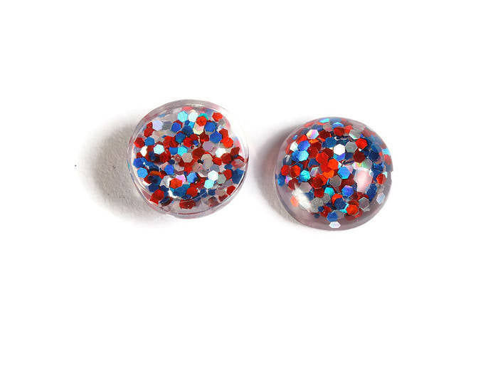 12mm Blue red silver cabochon - Glitter Cabochon - Domed Flat Back cabochons - 12mm glitter cabochons - 6 pieces (1872)