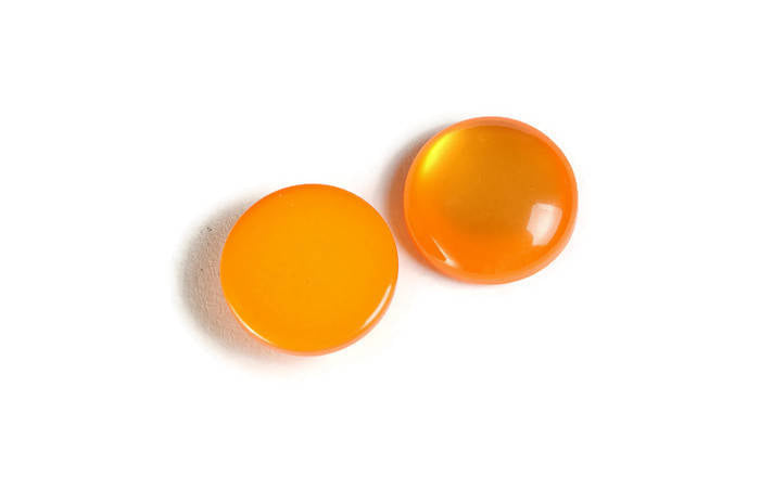 12mm Orange round cabochons - Orange cabochons - Imitation Cat Eye cabochons - Resin cabochons - 6 pieces (1865)